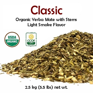 Classic Organic Yerba Mate (with stems) 5 lbs (2.27 kg)