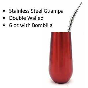 Red Stainless Steel Guampa with Bombilla 6 oz