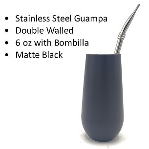 Black Stainless Steel Guampa with Bombilla 6 oz