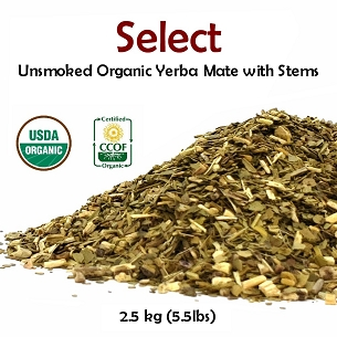 Select Organic Unsmoked Yerba Mate (With Stems) 2.5 kg (5.5 lbs)