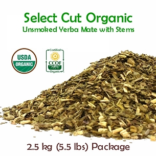Select Unsmoked Organic Yerba Mate (With Stems) 2.5 kg (5.5 lbs)