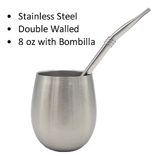 Stainless Steel Mate (8 oz) with Stainless Steel Bombilla