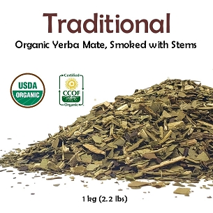Traditional Organic Yerba Mate (smoked with stems) 1 kg (2.2lbs)