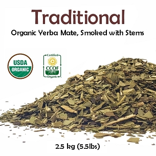Traditional Organic Yerba Mate (smoked with stems)  2.5 kg (5.5 lbs)