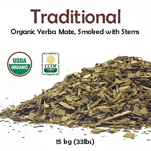 Traditional Organic Yerba Mate (Smoked with Stems) 15 kg (33 lbs)