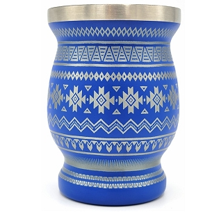 Tribal Design Stainless Steel Mate Blue 8 oz