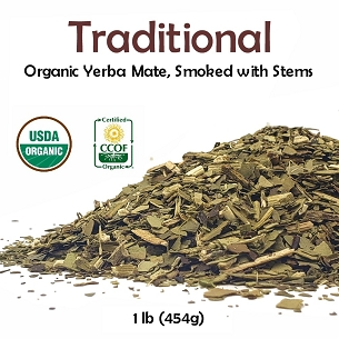 Traditional Organic Yerba Mate (smoked with stems) 1 lb (454g)